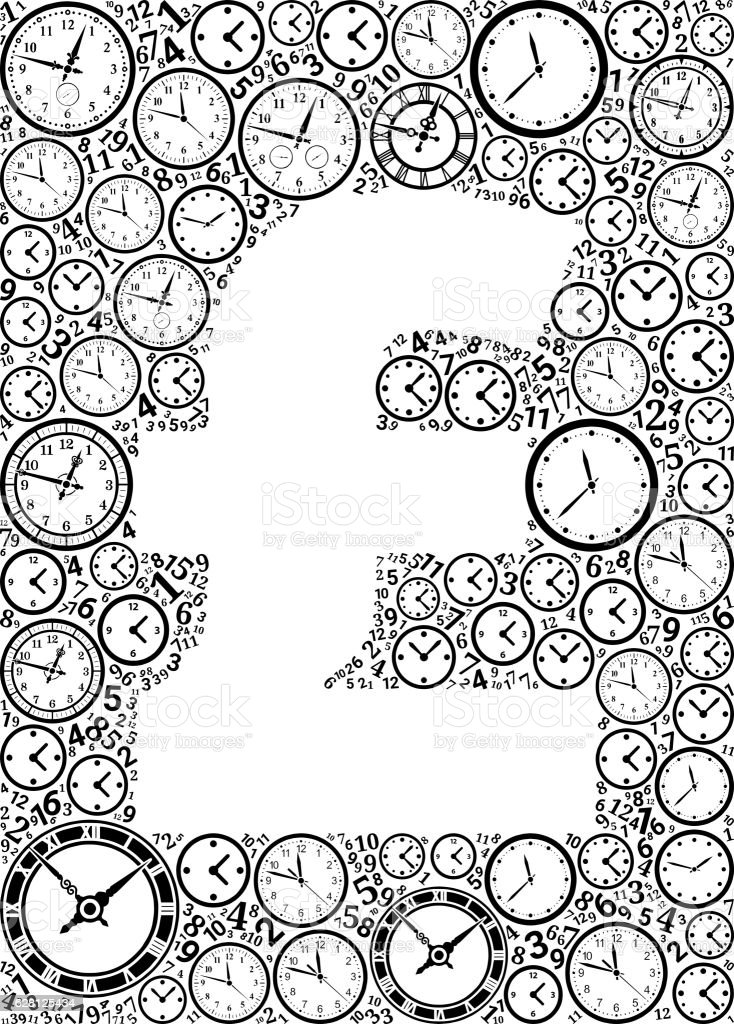 Pound On Time And Clock Vector Icon Pattern Vektor Illustration ...
