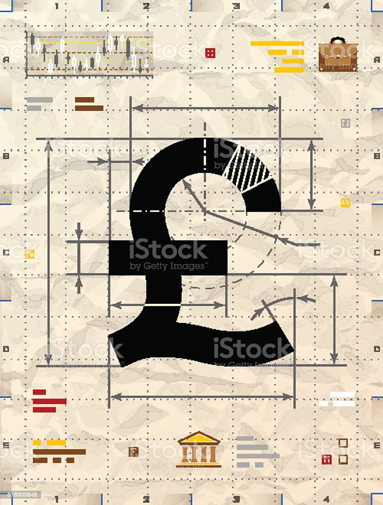 Pound sign as technical blueprint drawing vector art illustration