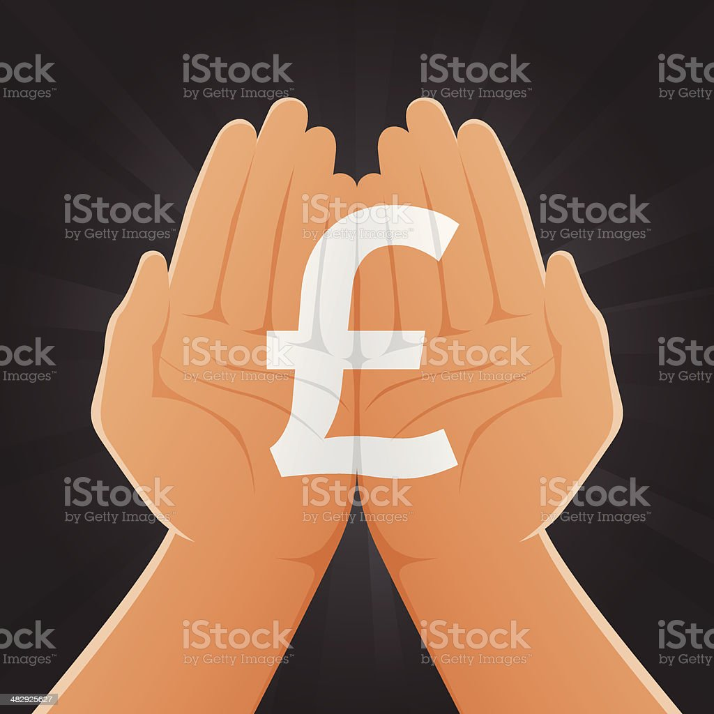 Pound Sign Painted on Hands royalty-free stock vector art