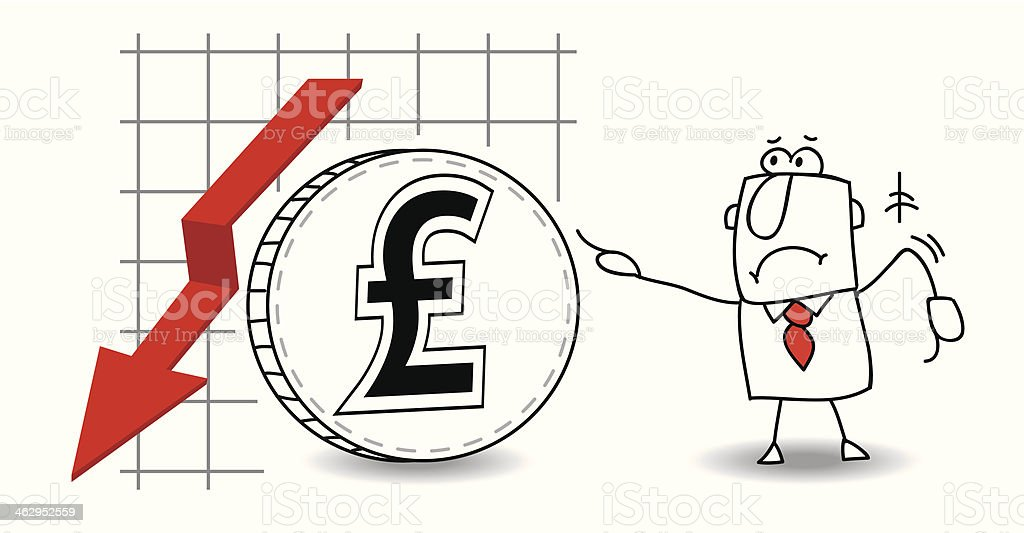 pound sterling is growing down royalty-free stock vector art