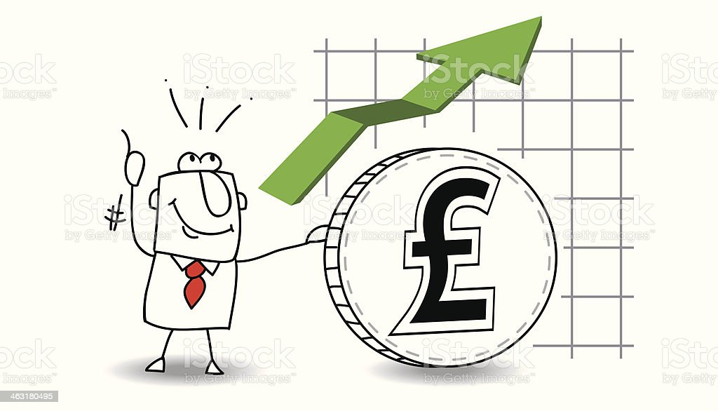 pound sterling is growing up vector art illustration