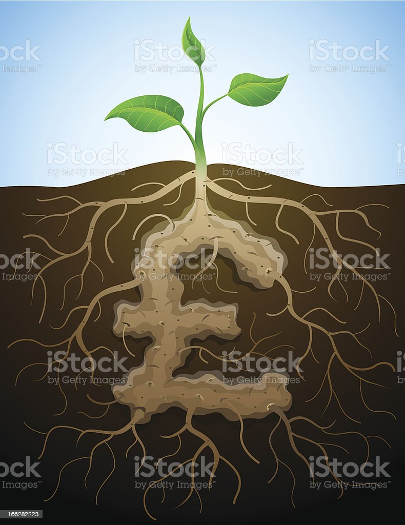 Pound sterling sign like root of plant royalty-free stock vector art