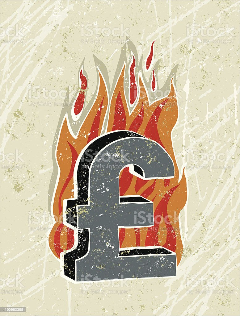 Pound Sterling Symbol on Fire royalty-free stock vector art