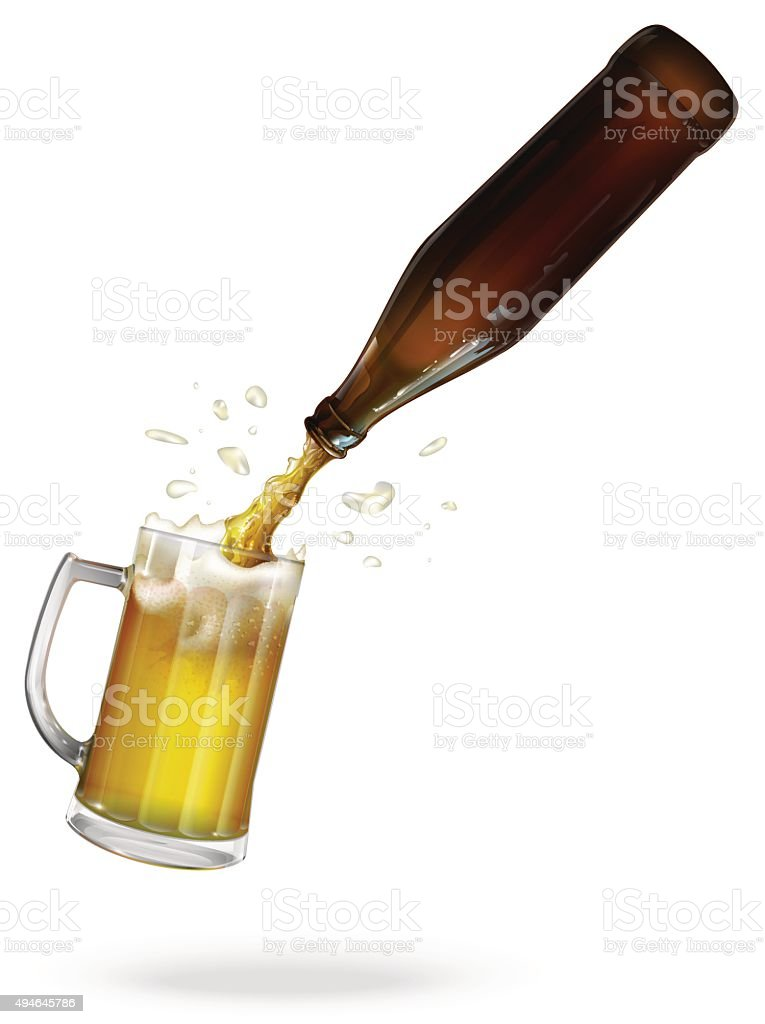 Pour beer. Beer bottle. Mug with beer. vector vector art illustration