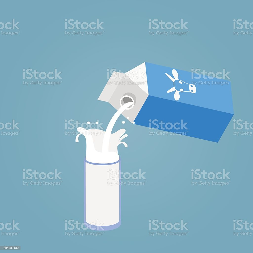Pouring a glass of milk creating splash vector art illustration