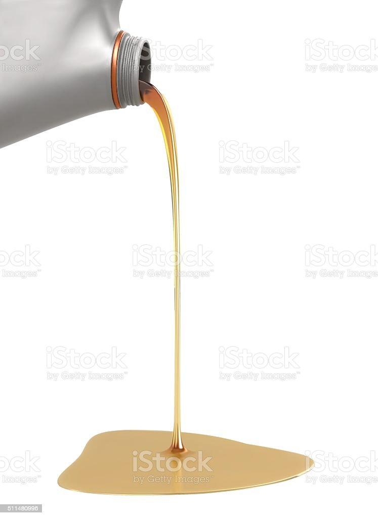 pouring engine oil from its plastic container vector art illustration