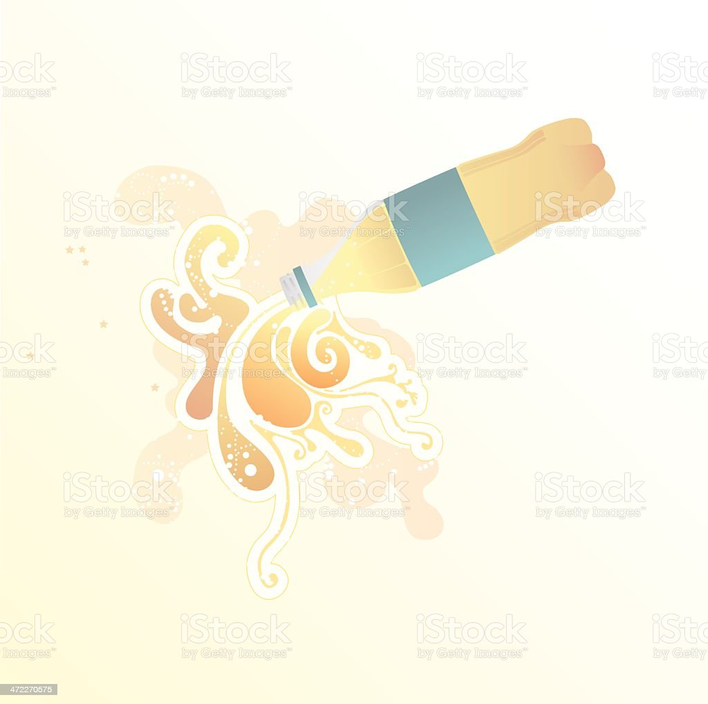 Pouring Fizzy Bottle - illustration royalty-free stock vector art