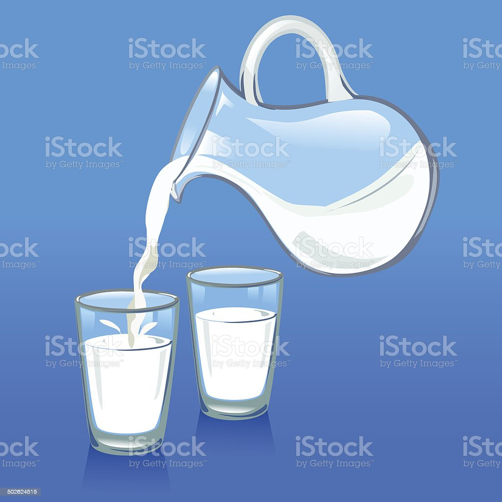 pouring milk from a jug into glasses vector art illustration