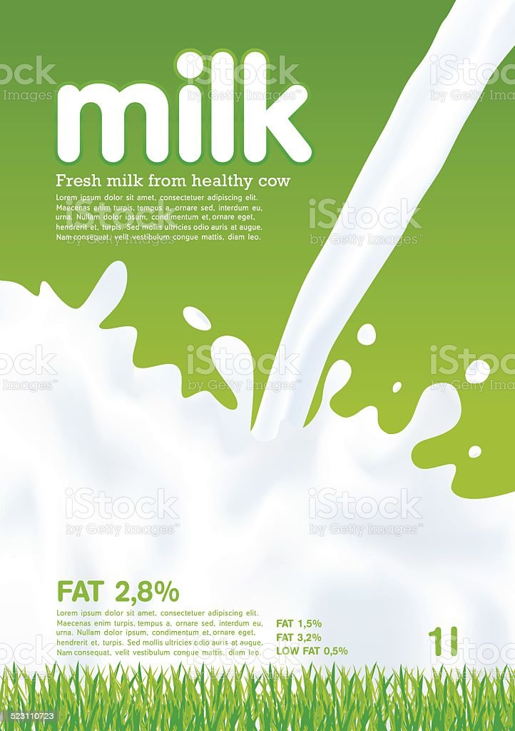 Pouring Milk, Splash, Milk wave, green background, vector vector art illustration