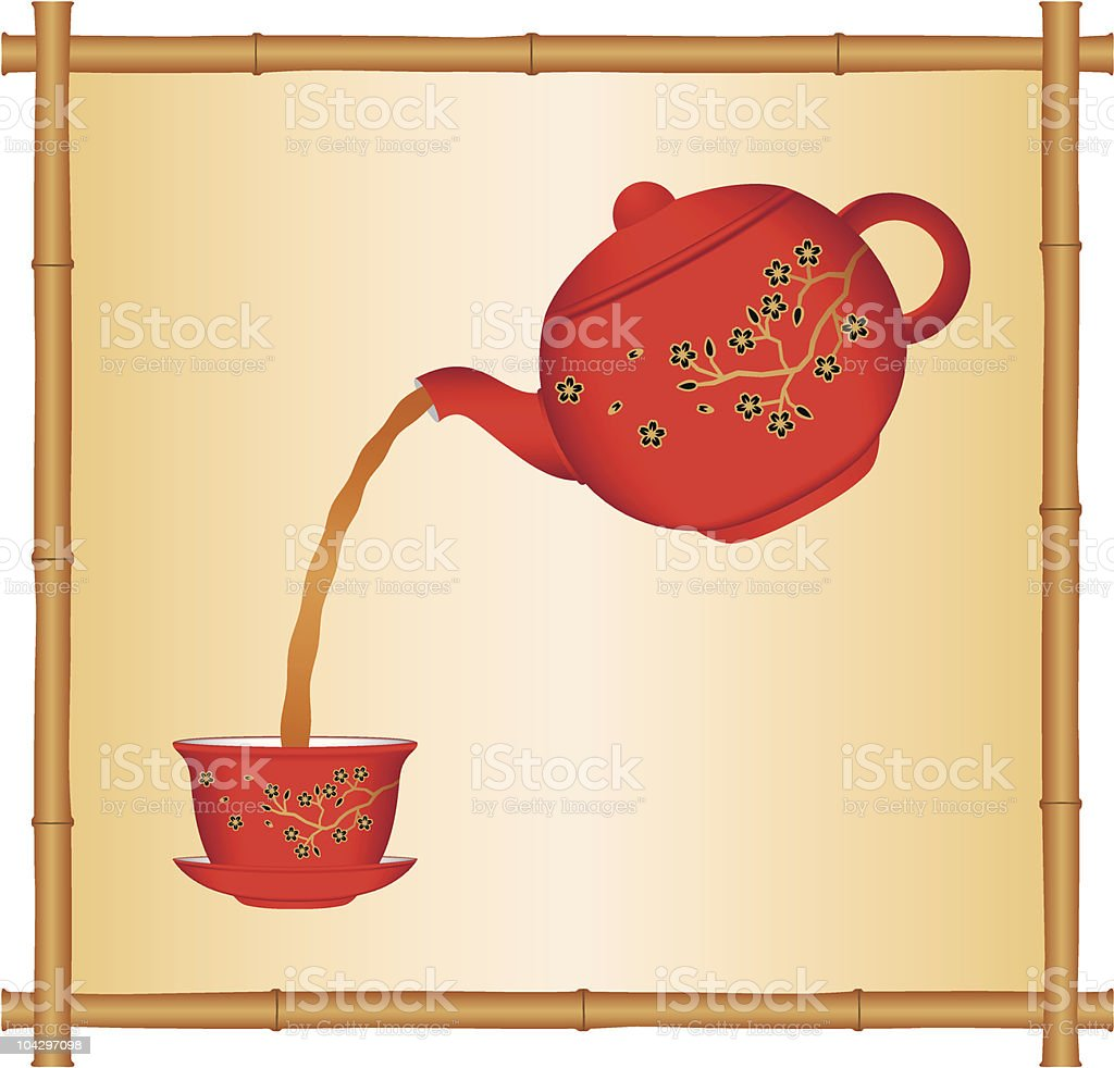 Pouring tea from a Chinese teapot royalty-free stock vector art