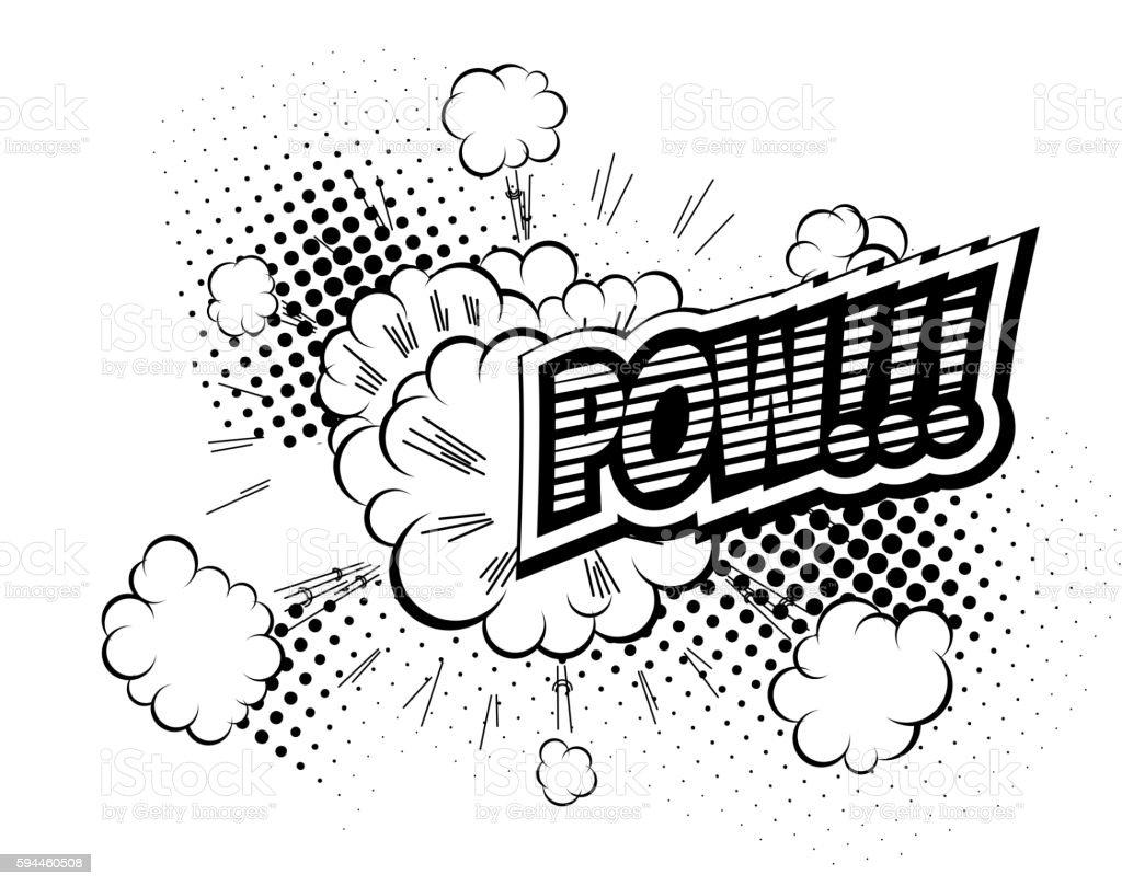 Pow - Comic Speech Bubble, Cartoon vector art illustration
