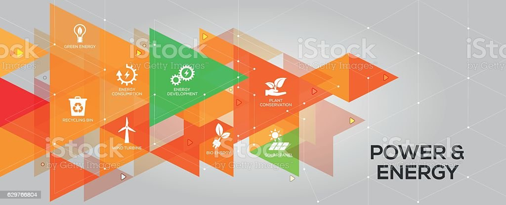 Power and Energy banner and icons vector art illustration