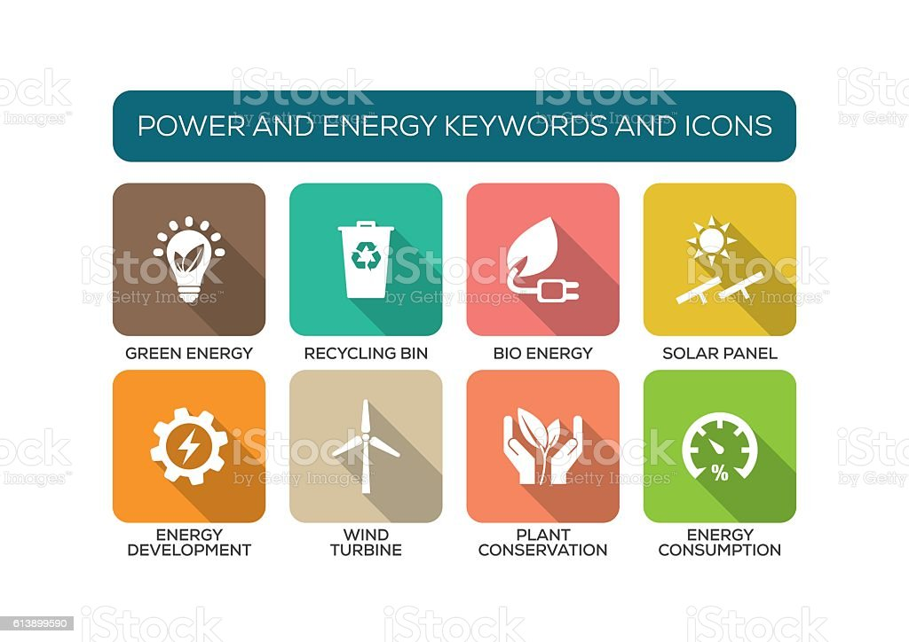 Power and Energy Flat Icon Set vector art illustration