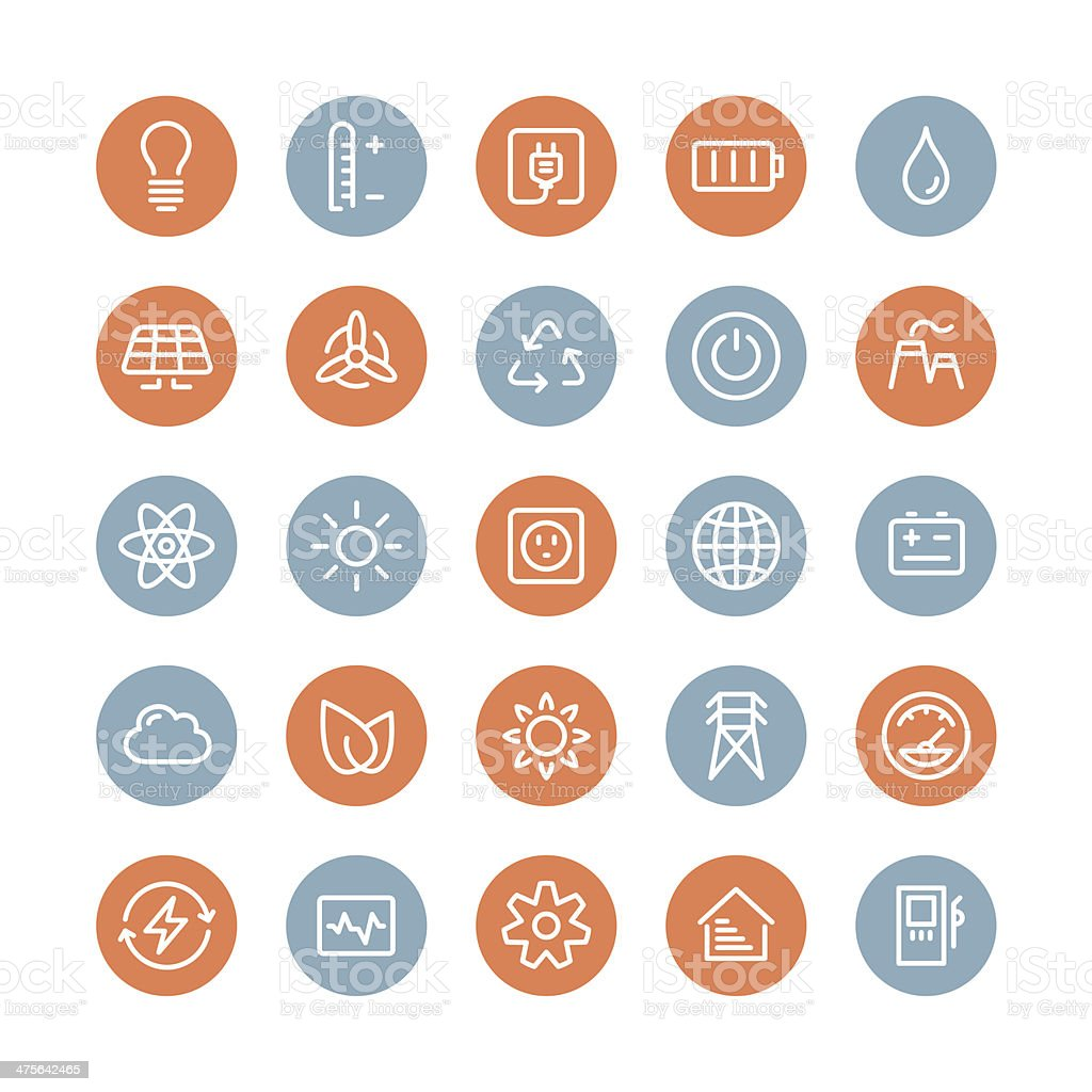 Power and energy flat icons set vector art illustration