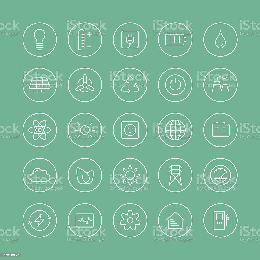 Power and energy flat line icons vector art illustration