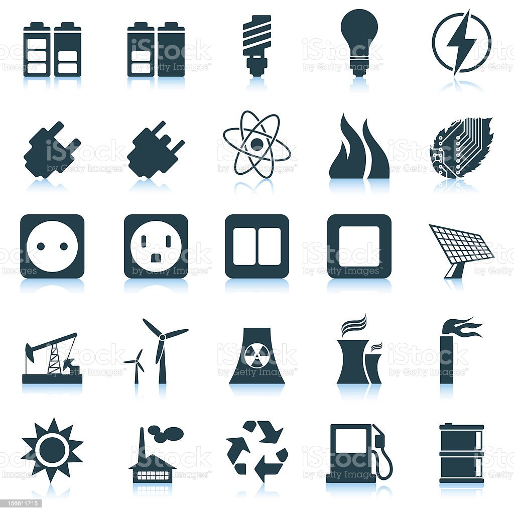 Power and energy icon set royalty-free stock vector art