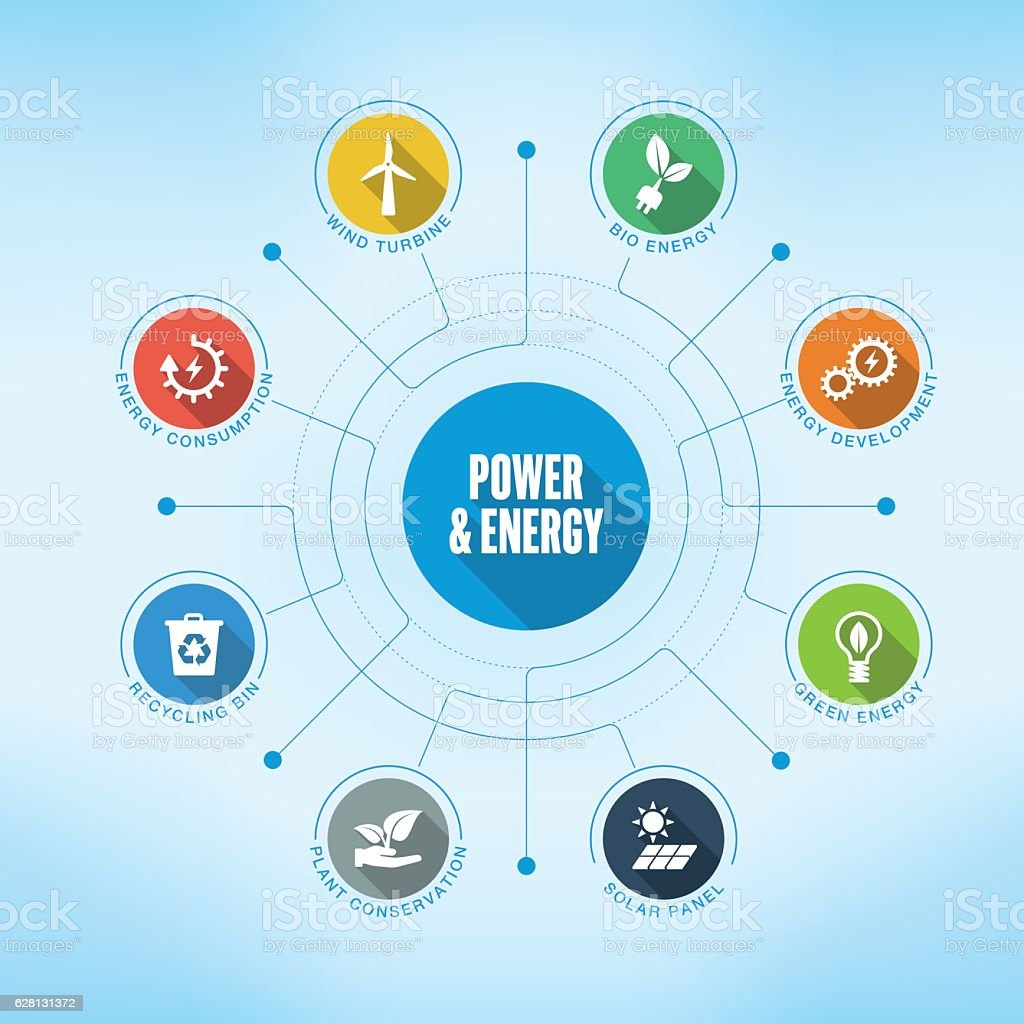 Power and Energy keywords with icons vector art illustration