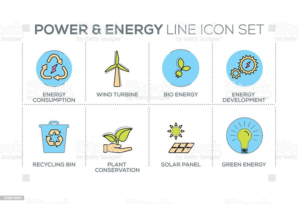 Power and Energy keywords with line icons vector art illustration