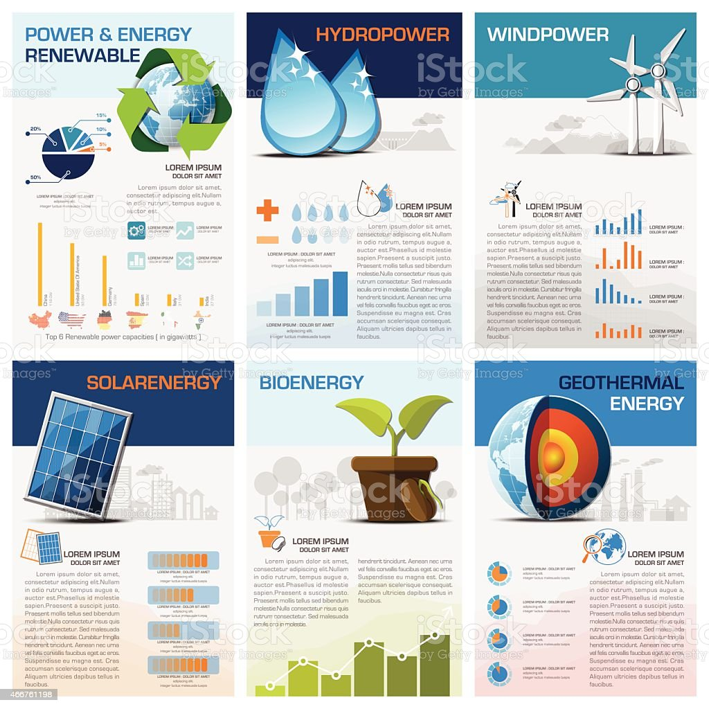 Power And Energy Renewable Chart Diagram Infographic vector art illustration