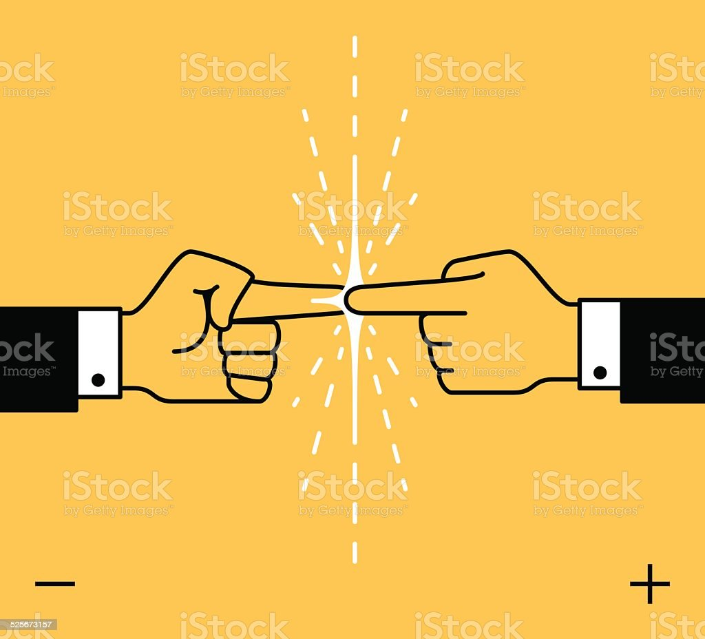Power business contact vector art illustration