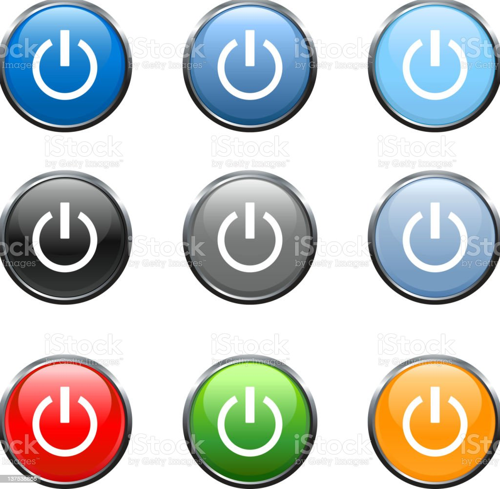 Power button icon in 9 colors vector art illustration