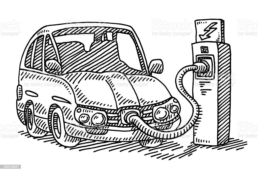 Power Charging Station Electric Car Drawing Stock Vector Art