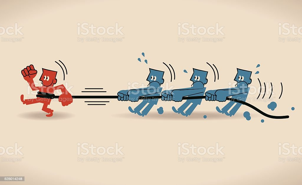Power Concept, group of men pulling walking man with rope vector art illustration