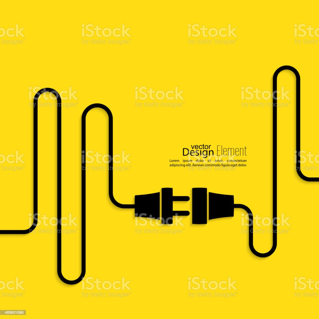 Power cord graphic on a yellow background vector art illustration