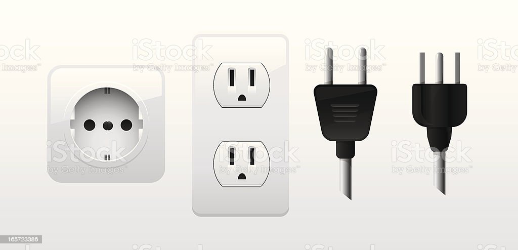 Power cords and outlets vector art illustration