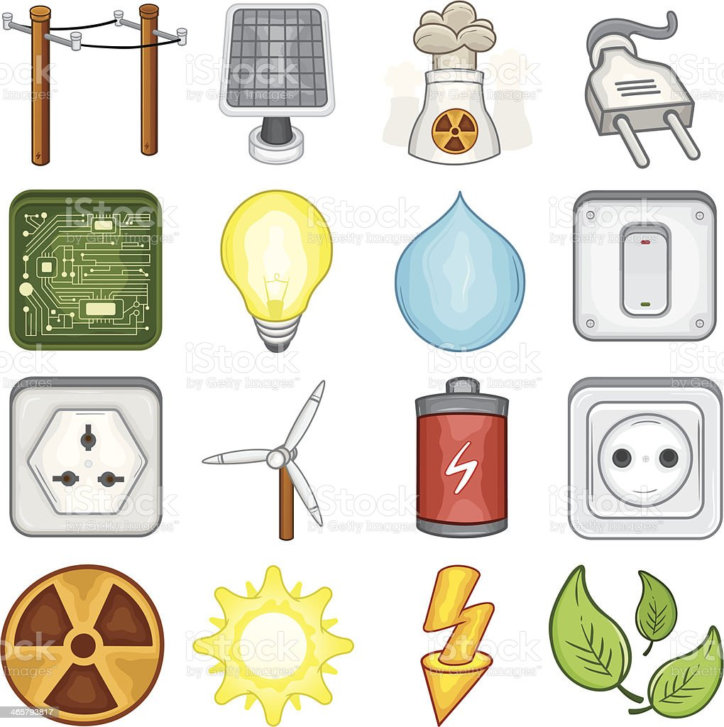 Power, Energy and Electricity Icons - Illustration royalty-free stock vector art