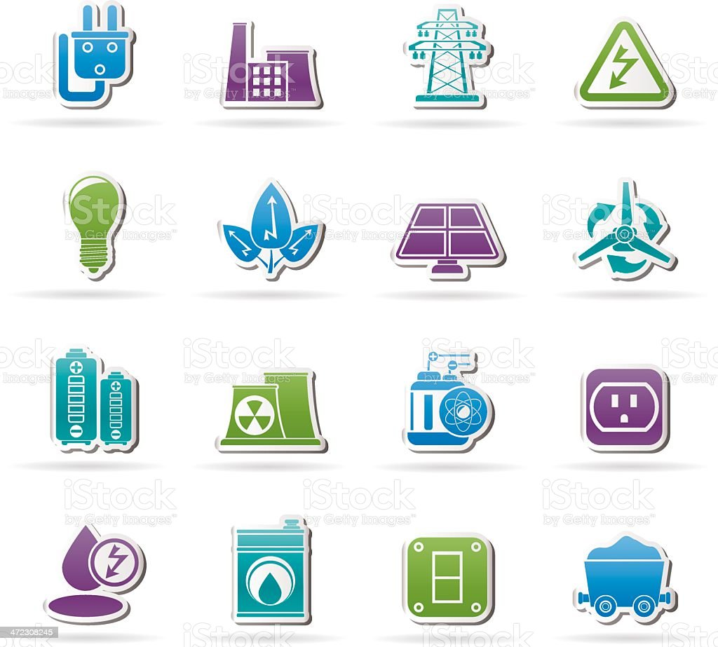 power, energy and electricity icons royalty-free stock vector art
