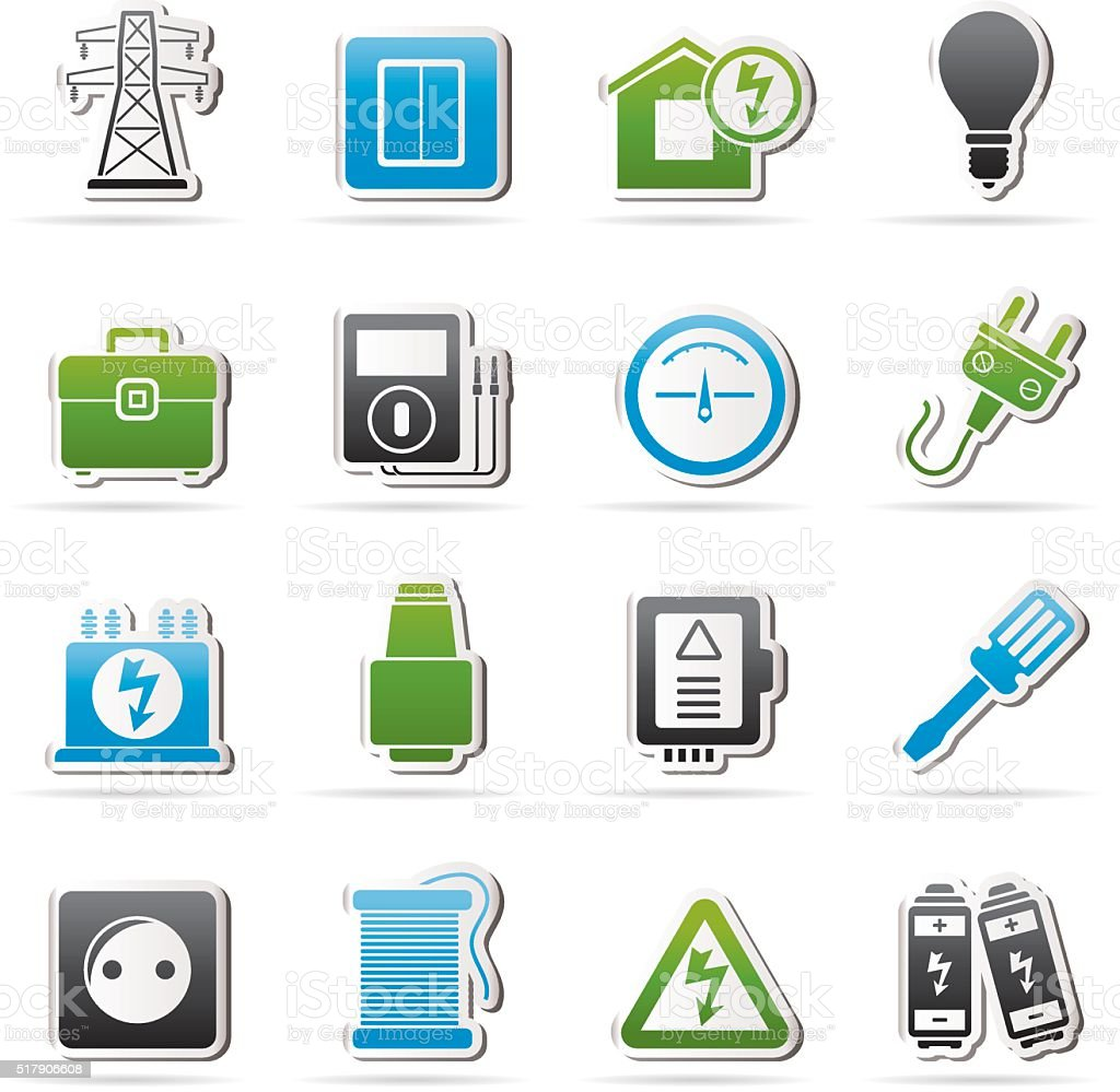 Power, energy and electricity icons vector art illustration