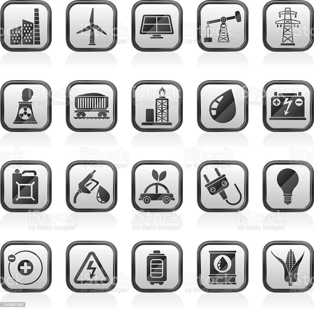 Power, energy and electricity Source icons vector art illustration