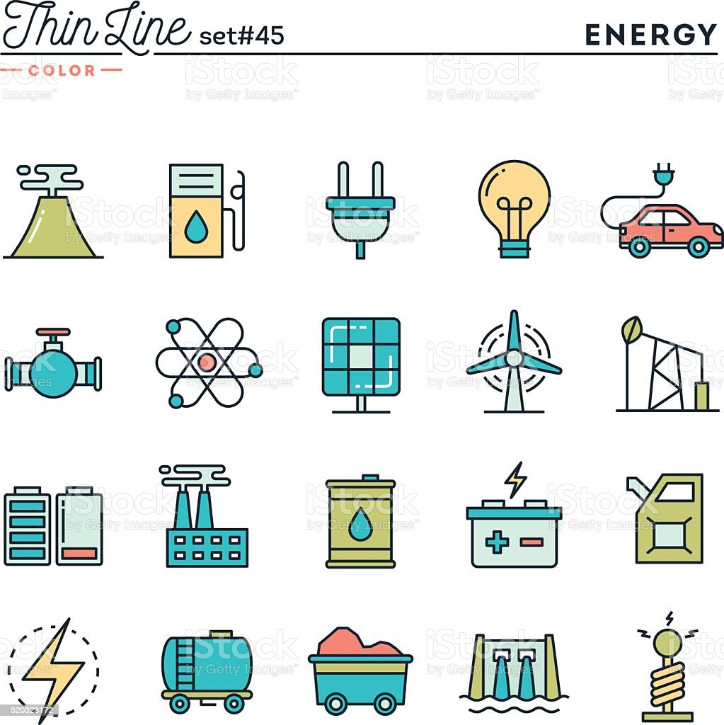 Power, energy, electricity production and more, thin line color icons vector art illustration