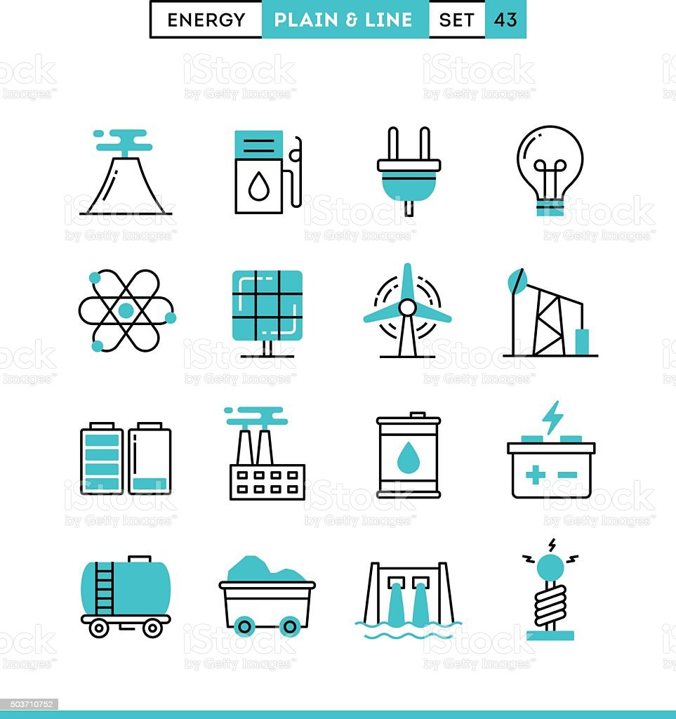 Power, energy, electricity production and more. vector art illustration