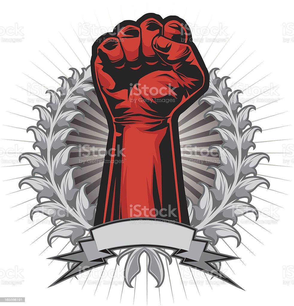 power fist wreath vector art illustration