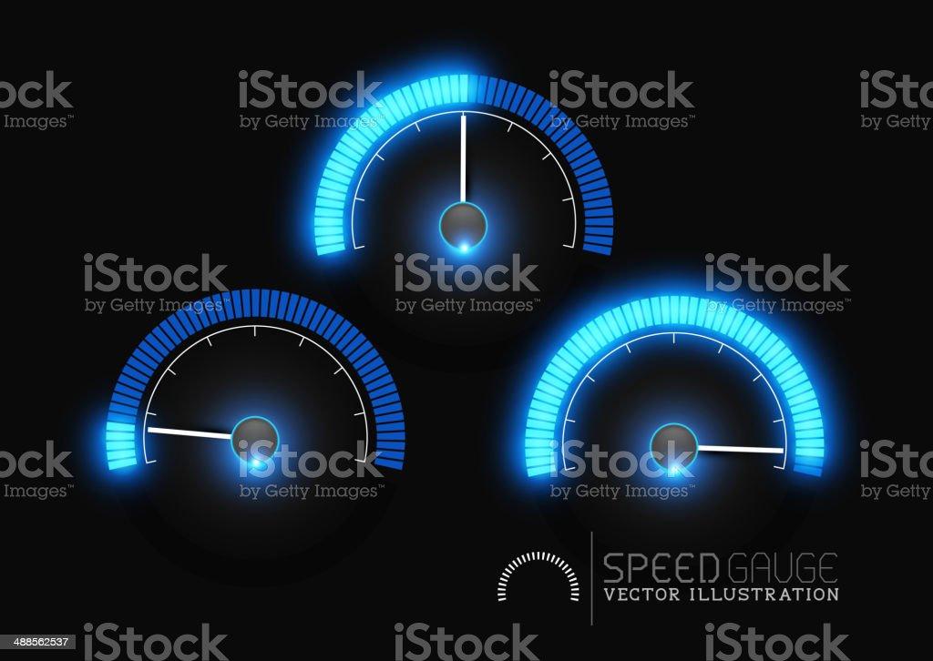 Power Gauge Meter Stages vector art illustration
