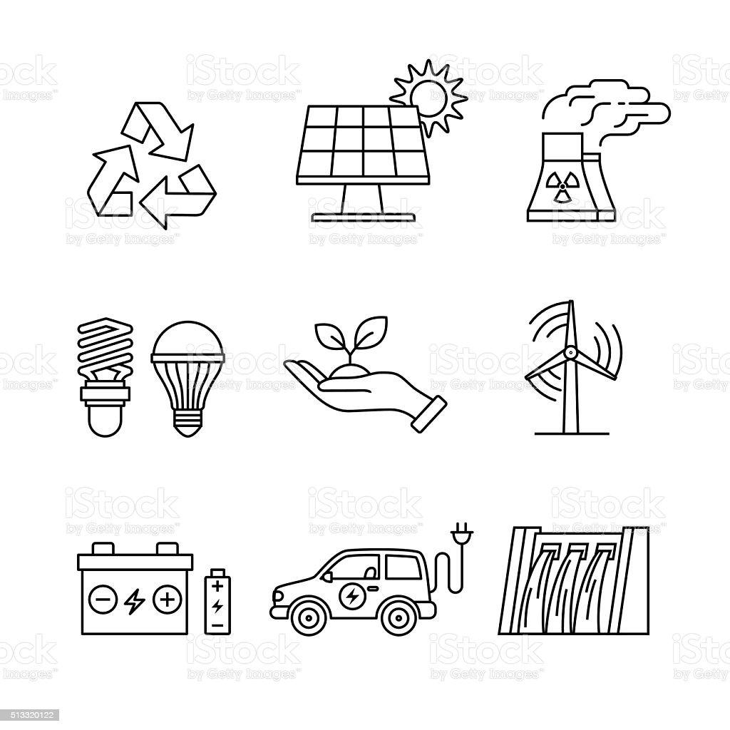 Power generation and ecologic energy vector art illustration