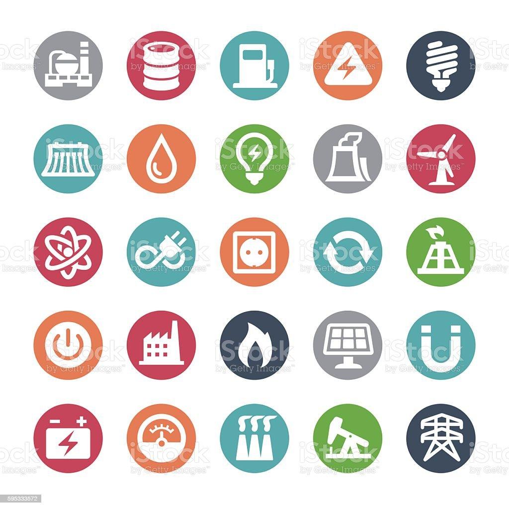 Power Generation and Fuel Icons - Bijou Series vector art illustration