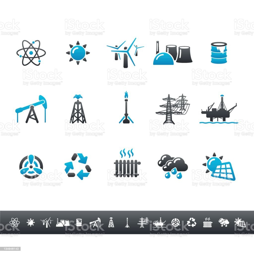Power Generation Icons   Blue Grey royalty-free stock photo