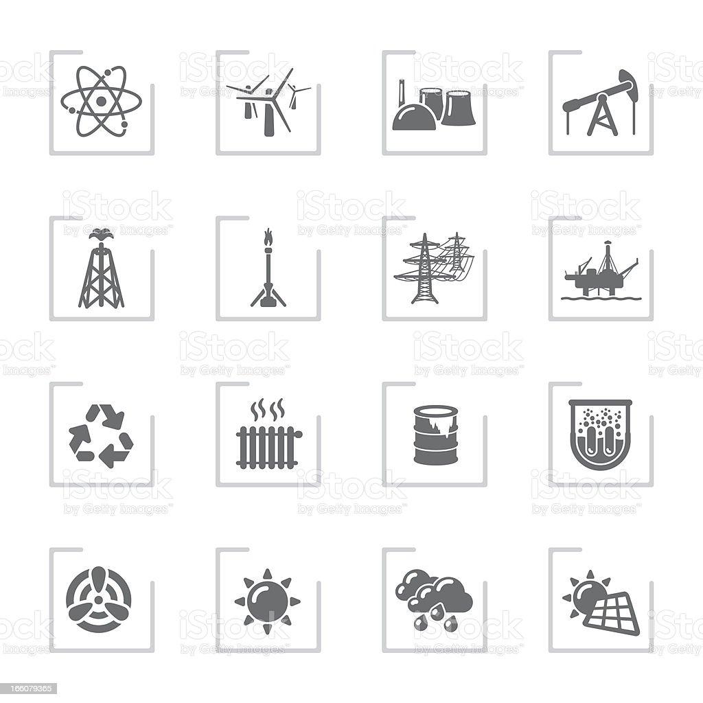 Power Generation Icons   Framed Grey royalty-free stock vector art
