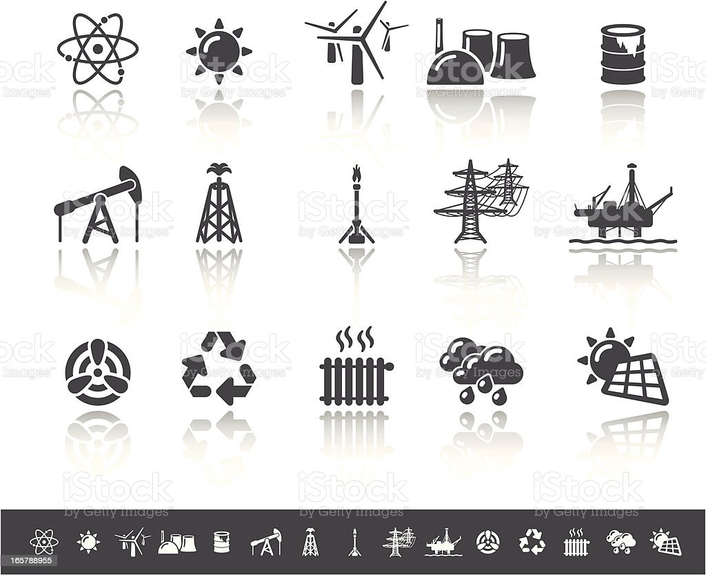 Power Generation Icons | Simple Grey royalty-free stock vector art