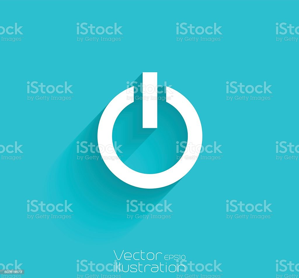 Power icon with long shadow on blue background vector art illustration