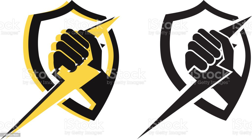 Power in My  Hand vector art illustration