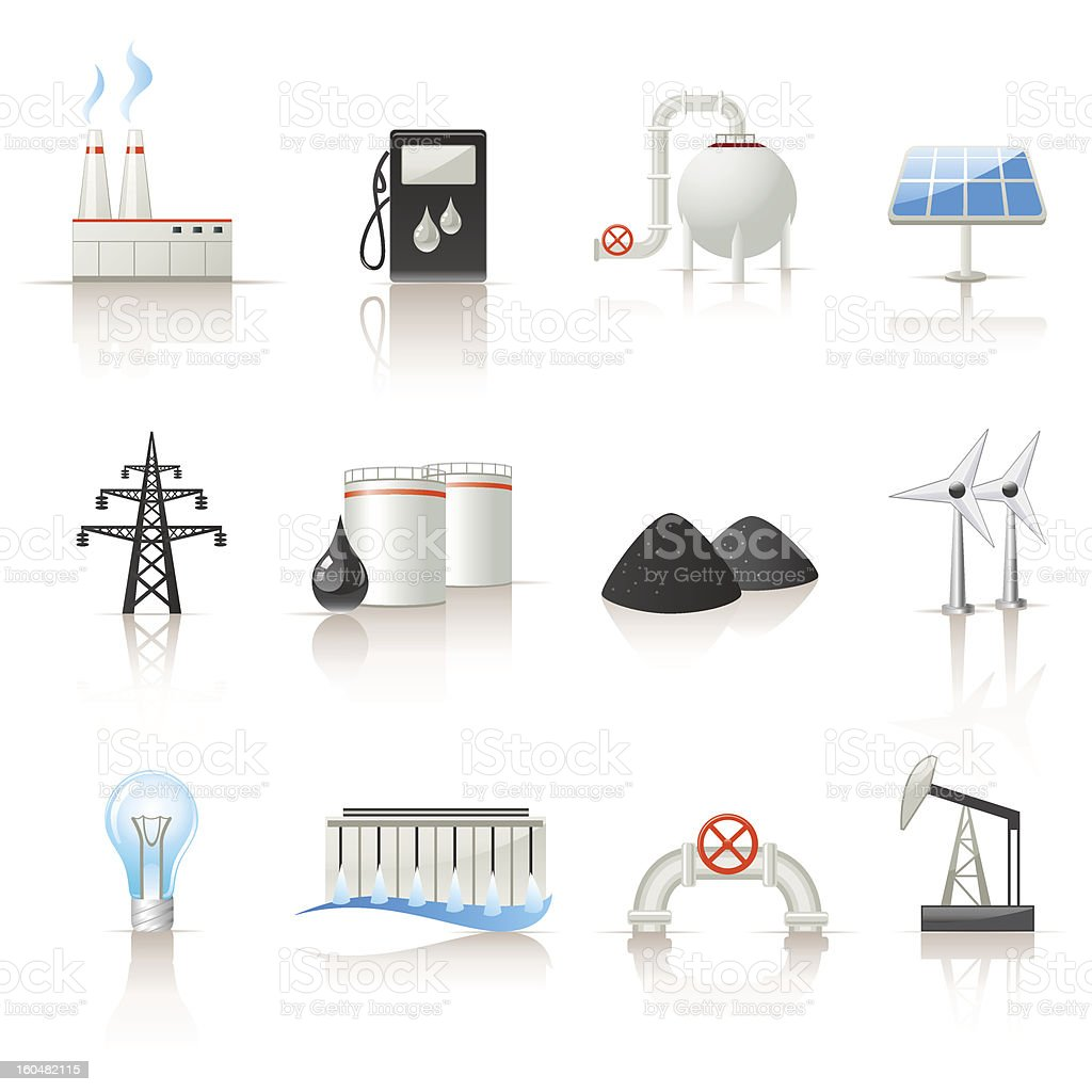 Power industry icon set vector art illustration