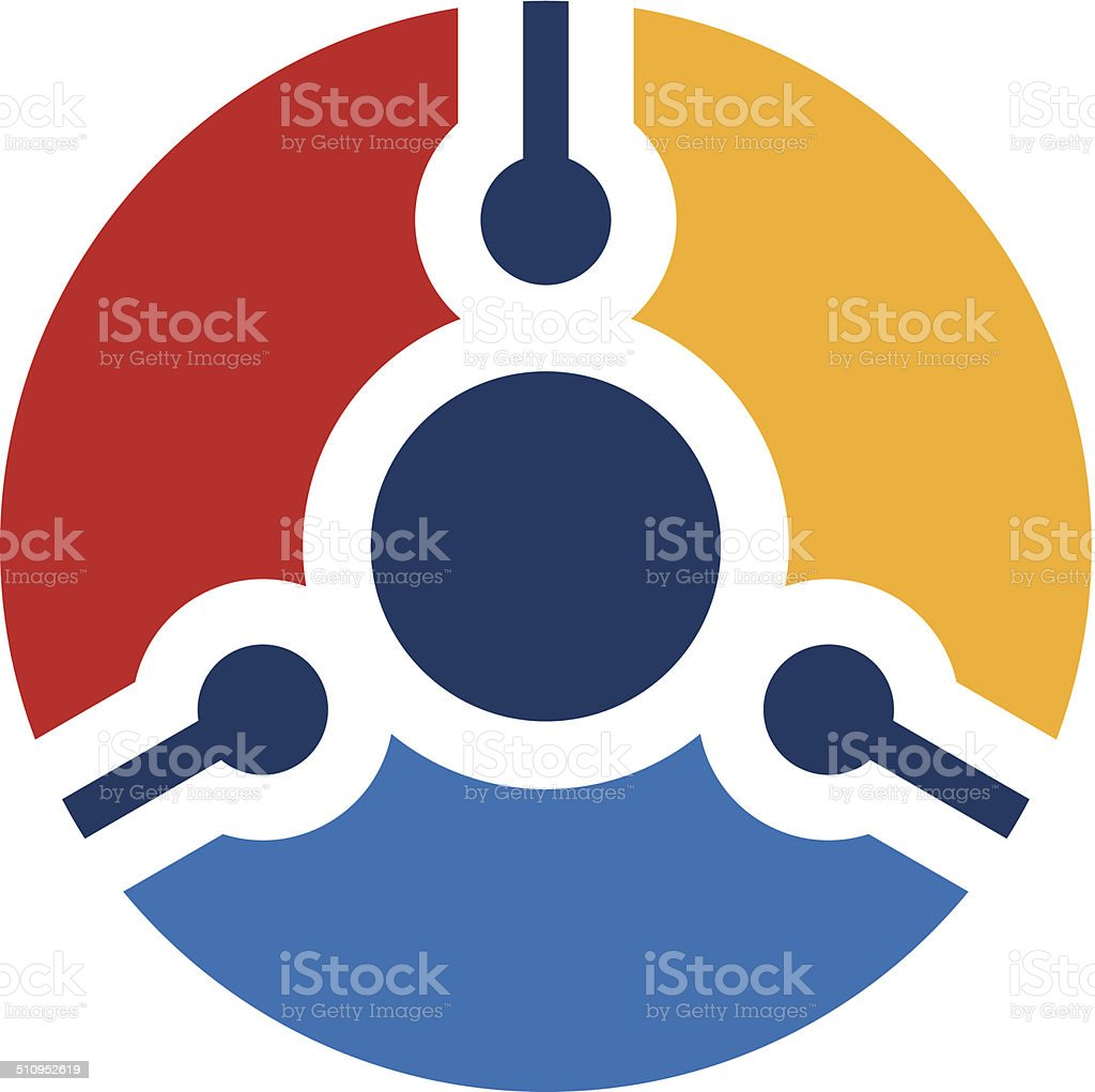 Power integrate circuit technology ball logo icon vector art illustration
