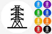 Power Line Icon on Flat Color Circle Buttons