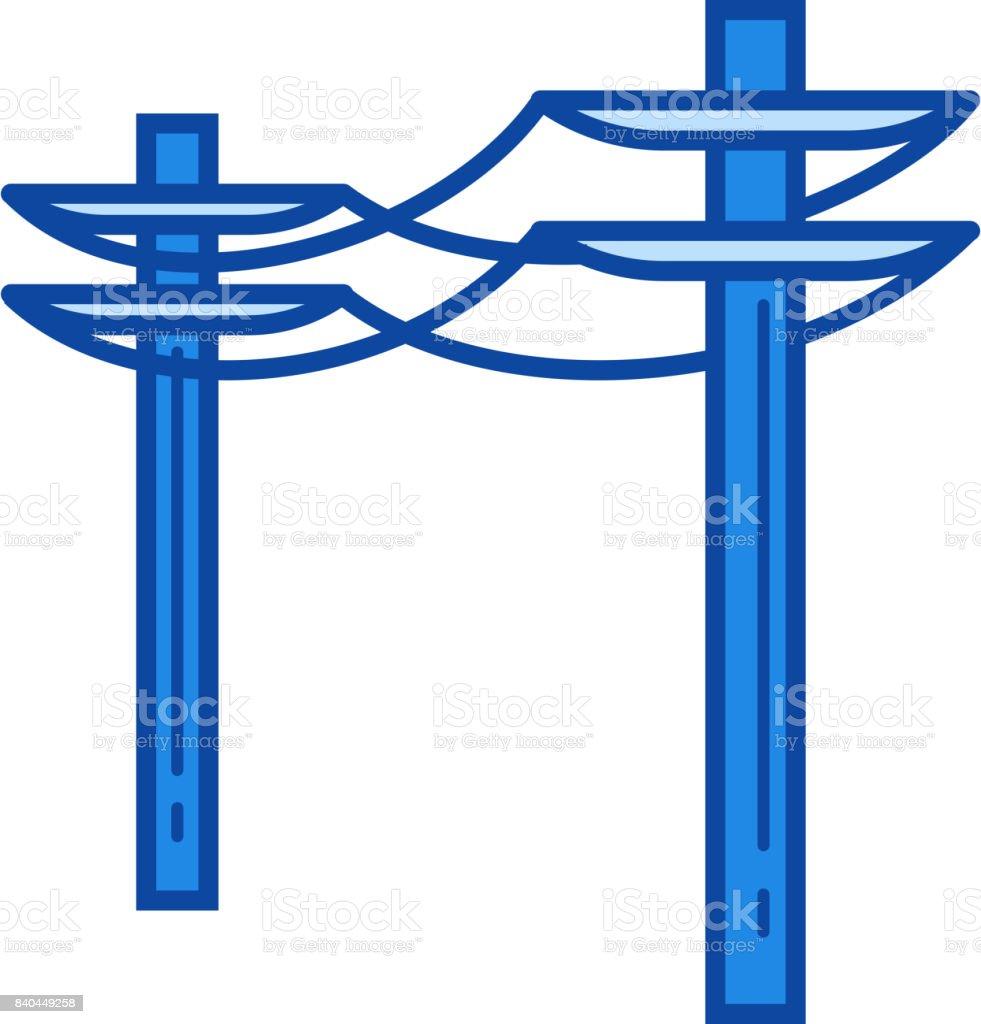 Power line icon vector art illustration