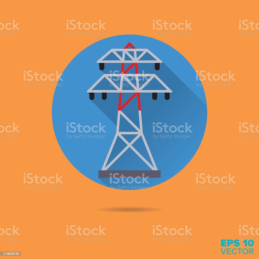 power line pylon flat design vector icon vector art illustration