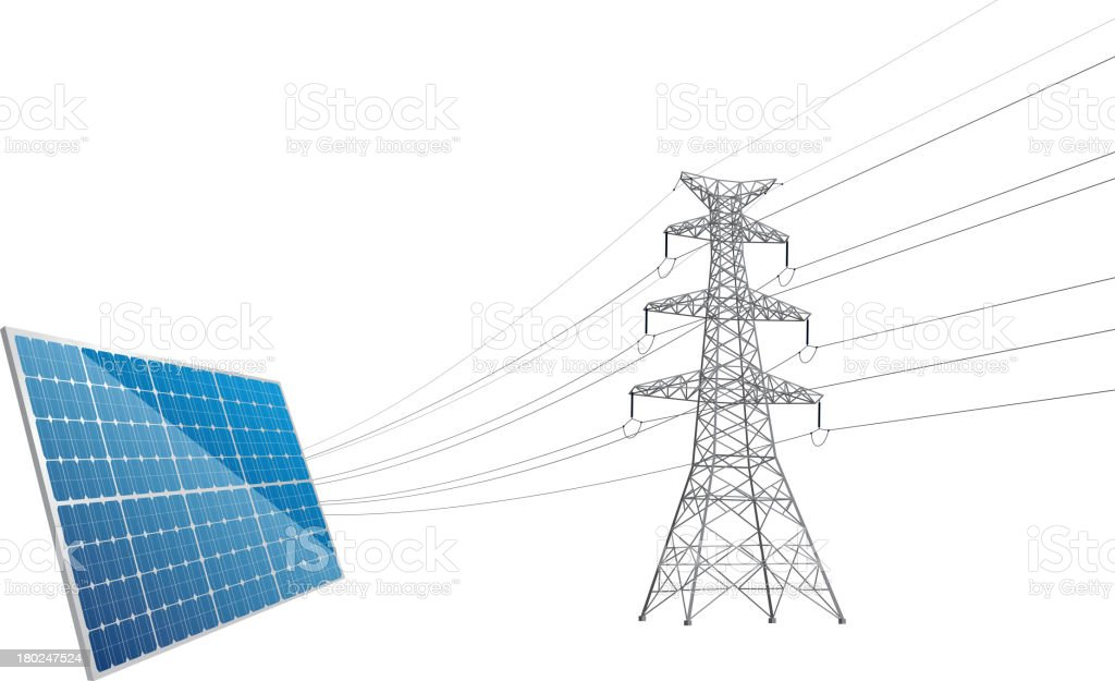 Power Line tower and solar royalty-free stock vector art
